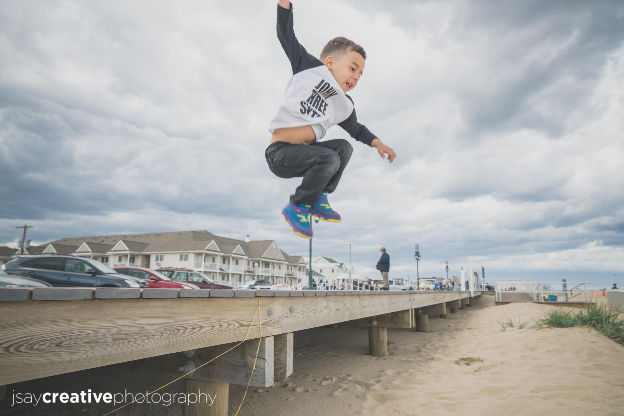 Adorable, Baby, Beach, Beautiful Family, Belmar, Belmar Beach, Boy Jumping Off The Board Walk, Children, Family, Family at Belmar Beach, Family at the Beach, Family at the Jersey Shore, Jersey Shore, New Jersey, Ocean, Son, shore